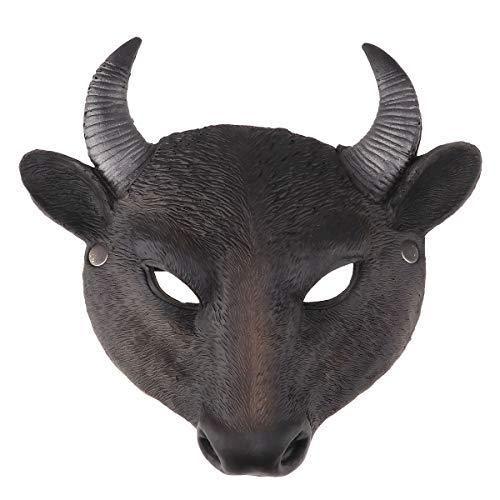 inlzdz 3D Tier Maske Stier Kuh Gesichtsmasken Grimasse Maske Latex Tierkopf Maske Prom Maskerade Halloween Masken Horror Dekoration Kostüme Schwarz One - Herren Stier Kostüm