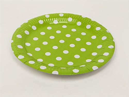 AEX 23cm Einweg-Großpolka-Punktpapier Partyteller (Grün) (Platten Grün Papier Partei)