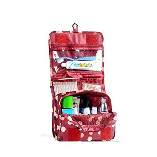 VORCOOL Borsa da Toilette Appendere Impermeabile Beauty Case (Vino Rosso)