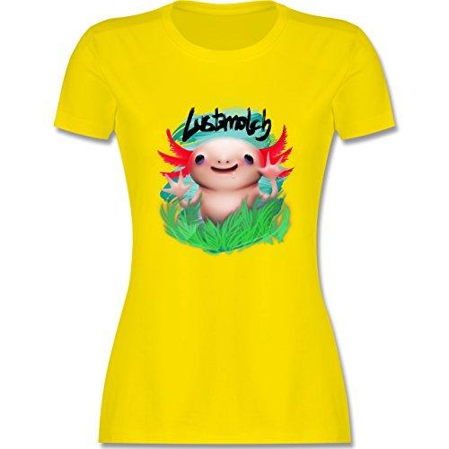 Sonstige Tiere - Lustmolch - Axolotl - tailliertes Premium T-Shirt mit Rundhalsausschnitt für Damen Lemon Gelb