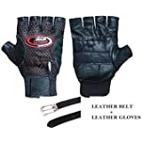 Combo Offer..!! Leather Belt + Leather & Polo Winter Gloves