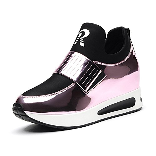 Damen Aufzug Dicke Boden hoch Absatz Gemütliche Beiläufige Atmungsaktive Halbschuhe Sneakers Pink