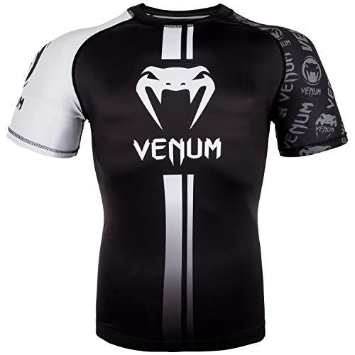Venum Logos Rashguard de Mangas Cortas, Hombre, Negro/Blanco, L