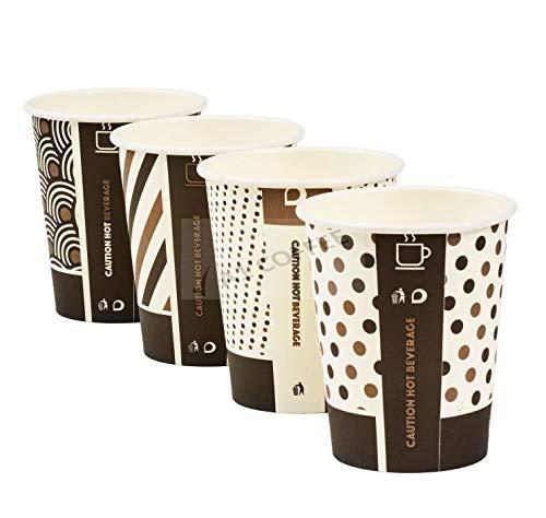 x 227 ml Ingeo Mixed-Design Bambus Becher einwandig kompostierbar biologisch abbaubar PLA beschichtet Tee Kaffee Espresso Heiße Getränke Tassen ()