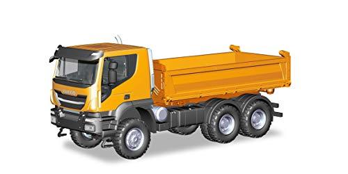 Herpa 309998 iveco trakker - camion da cantiere, 6 x 6, colore: arancione/multicolore