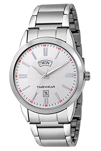 TIMEWEAR Analog Silver Dial Formal Day Date Watch for Men