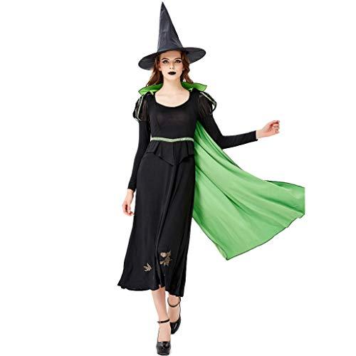 Geilisungren Hexen Dienstmädchen Kostüm für Damen 3 Teiliges Halloween Kleidung Langarm Lang Kleider + Umhang + Hexenhut Frauen Karneval Festlich Party Ball Cosplay - Sexy 3 Teiliges Kostüm