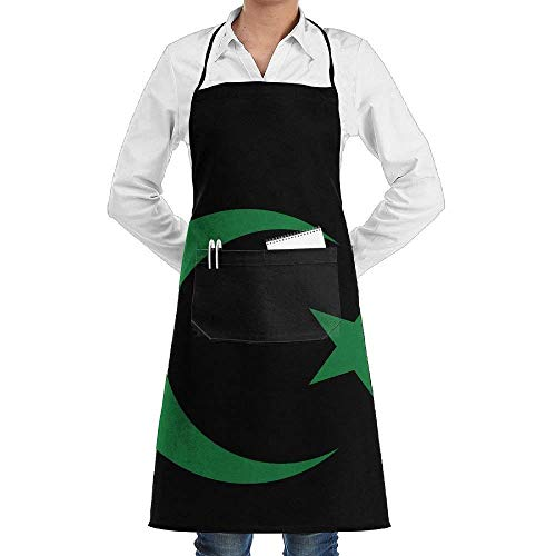 Kotdeqay Star Crescent Islam Symbols Unisex Recommended Apron Creative Aprons,Wear and Fall in Love