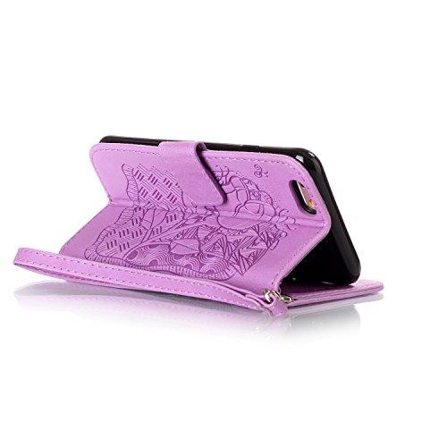 iPhone 6S Plus 5.5 Cover a Libro,iPhone 6 Plus/6S Plus 5.5 Cover Portafoglio,BtDuck Morbido Slim Cover Flip Magnetica Custodia Pelle Borsa e Portafoglio Tasca Progettato Morbido Silicone Back Case Bum #2 Porpora