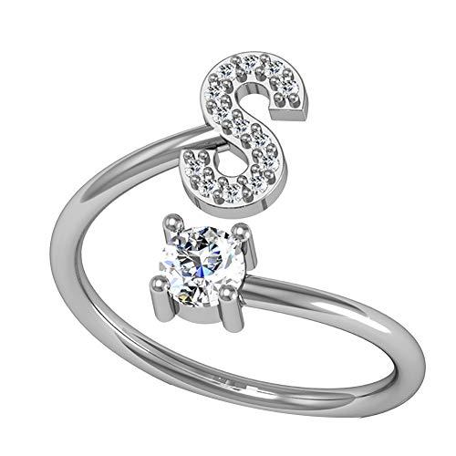 Woncacrostrans - anello da donna con lettera dell'alfabeto, con strass, regolabile, 1 pezzo e rame, 0, colore: silver s, cod. 3hx25q02kf0320w6f1lihg6f1a