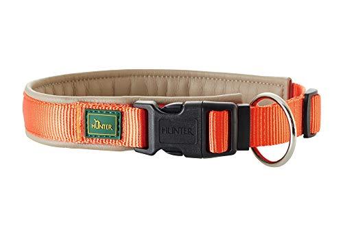 HUNTER SEVILLA VARIO PLUS Halsung für Hunde, Nylon, mit Kunstleder unterlegt, Zugentlastung, 60, orange/taupe -