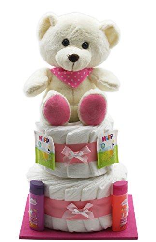 """Große Windeltorte""""rosa Bär"""" - mit rosa Teddybär - das perfekte Geschenk zur Geburt oder Taufe + gratis Kärtchen mit Grußbotschaft"""