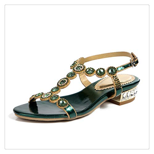 TRFLH& 2018 New Summer Rhinestone Gladiator Peep Toe Crystal Low Heels Sandals Women Bridesmaid Sandalias Wedding Party Shoes L004 Green 9