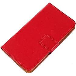 """Gukas Housse Coque Pour SFR STARXTREM 6 5.5"""" PU Leather Cuir Etui Case Cover Flip Protection Portefeuille Wallet Rouge"""