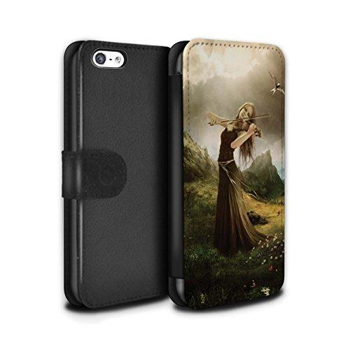 Officiel Elena Dudina Coque/Etui/Housse Cuir PU Case/Cover pour Apple iPhone 5C / Chanson de Fleurs Design / Réconfort Musique Collection Chanson de Fleurs