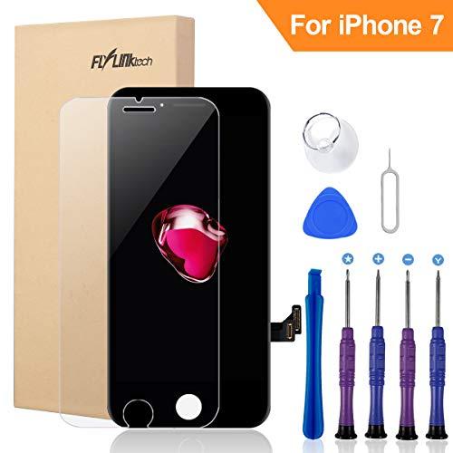 FLYLINKTECH Für iPhone 7 Display Schwarz, LCD 3D Touchscreen Digitizer Assembly mit Werkzeuge und Displayschutzfolie Für iPhone 7 Schwarz 4.7