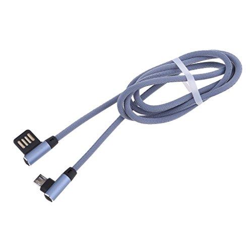 non-brand Sharplace Micro USB Kabel Cable Ladekabel für Android Smartphones, 90 Grad Doppel Winkel Kopf Design, 3 Farben Zum auswählen - Blau -
