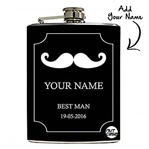Nutcase - Personalized Gifts for Him - Customised Hip Flask 9oz Gift Set with Funnel - Best Man Stache Wedding Gift