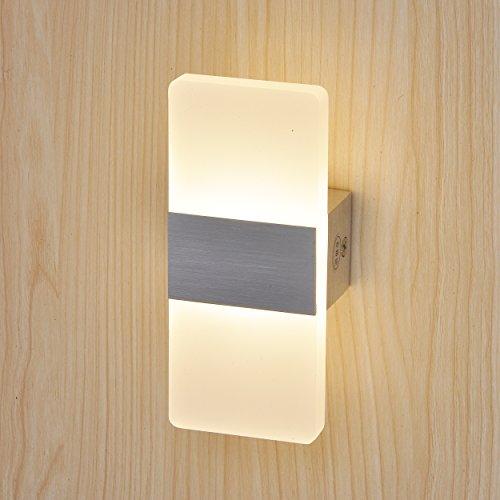 Topmo 3w bianco caldo lampada da parete a led applique ideale per camera da letto soggiorno - Applique led per camera da letto ...