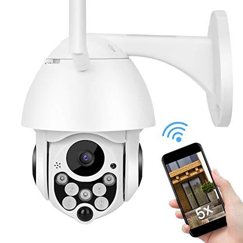 PTZ Überwachungskamera, 2MP HD Aussen IP Kamera mit Zwei-Wege-Audio, 5X Optischer Zoom, Bewegungserkennung, IR-Cut-Nachtsicht für Zuhause/Büro/Shop