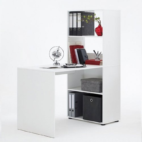 Furniture Group Bente Wooden Home Office Desk in White with Shelving