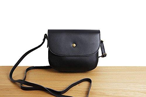 Le Donne Cuoio Genuino Tracolla Messenger Stile Vintage Semplice Mini Piccola Borsa Piazza Black