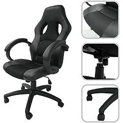 Silla de despacho ajustable de cuero sintético y mallas aireadas de color negro – Silla de oficina inclinable
