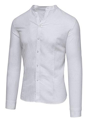 Camicia uomo di lino bianca sartoriale casual elegante estiva slim fit (m)