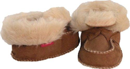 Plateau Tibet - ECHT LAMMFELL Baby Kinder Schuhe Booties Stiefel - HuggME, Braun - Gr. 24/25 - Tragetaschen Winter Stiefel