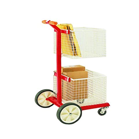 SHS Handling HG4253-3 Mailroom Trolley, Two Baskets and Base Tray, 680 mm Length x 510 mm Width x 1085 mm Height