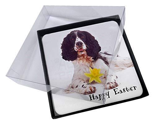 4x 'Happy Easter' Springer Spaniel Bild Tisch-Untersetzer in Geschenk-Box -