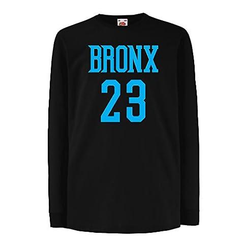 Kinder-T-Shirt mit langen Ärmeln Bronx 23 - Street Style Mode (9-11 years Schwarz Blau)