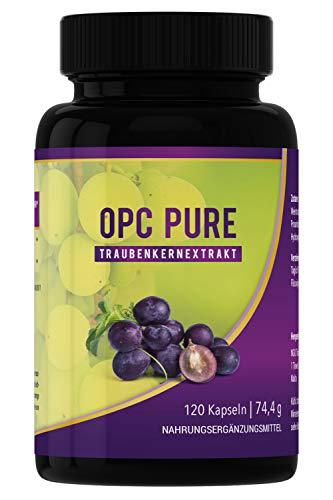 OPC Traubenkernextrakt - 120 Kapseln, hochdosiert, vegan, bio, rein - hergestellt und laborgetestet in Deutschland - Antioxidantien Kapseln/Tabletten ohne unerwünschte Zusätze