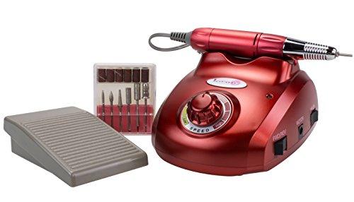 Nagelfräser Set mit Fußpedal - Rot