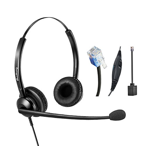 Call Center Headset Telefon Headset mit Noise Cancelling Rauschunterdrückung Mikrofon RJ9 Verdrahtet Dual Ohr für Festnetztelefone Cisco Yealink Snom Fanvil Grandstream Htek Huawei Dlink Akuvox Escene