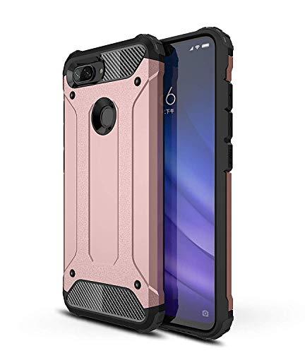 RFly Funda para Xiaomi Mi 8 Lite, con Absorción de Choque Resistente Doble Capa Rugged Armor Funda, para Xiaomi Mi 8 Lite Smartphone, Oro Rosa
