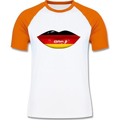 EM 2016 - Frankreich - Lippen Bodypaint Deutschland - zweifarbiges Baseballshirt für Männer Weiß/Orange