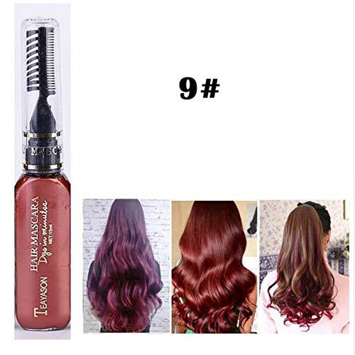 gwerf Haarfarbe Creme mit Kämmen Haarfarbe Kreide für Festivals, Rollenspiele, Konzerte, Partys(weinrot) ()