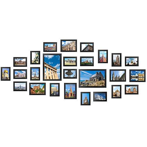 Yorbay Fotos Beachcruiser Juego Marco de Fotos con Encuadre de plexiglás Foto Collage, Post Casa Decorativa, Madera, Negro, 41.50X 30,00x 23,5cm.