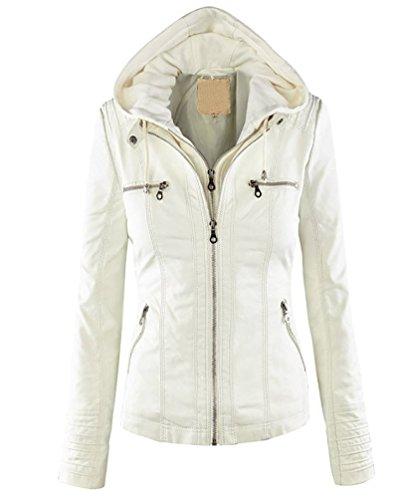 Minetom Donna Vintage Cappuccio Zipper Cardigan Invernali Cappotto Giacca Felpa Giacche Ecopelle Jacket Bianco IT (Pelliccia Bomber Giacca In Pelle)