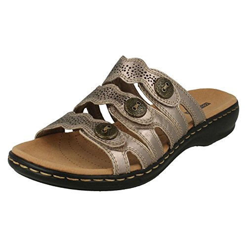 Clarks Leisa Grace, Damen Schwarz Leder Maultier Sandale mit 3 Riemen 6 Pewter Metallic (Schwarz Clogs Clarks)