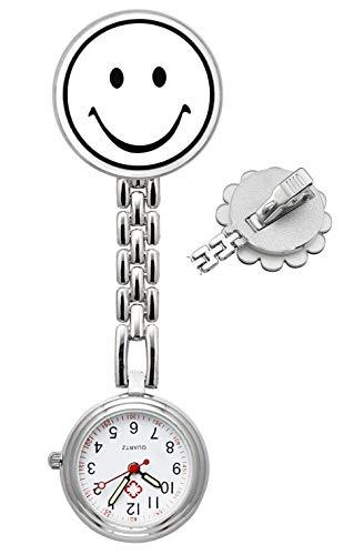 SRXWO Unisex Krankenschwesteruhr Analog Quarz Taschenuhr mit Clip auf Brosche Medizinische Edelstahl Armband, Schwesternuhr für Herren Damen Doctor Paramedic Silber (W-Smile)