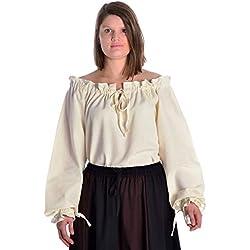 HEMAD Blusa de algodón medieval para mujer - Escote con volantes y mangas – S Beige