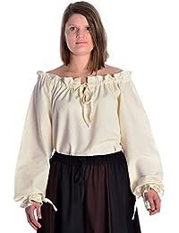 Mittelalter Damenbluse naturbeige Baumwolle S-XXL Gewandung Bluse