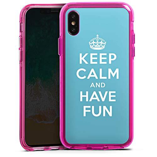 DeinDesign Apple iPhone XS Bumper Hülle transparent pink Bumper Case Schutzhülle Keep Calm Fun Phrase