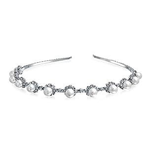 Bling Jewelry Diadem Haarb�gel mit Kunstperlen und Strass Steinen Hochglanz Haarreif Hochzeitsschmuck Braut Krone Kranz Versilbert