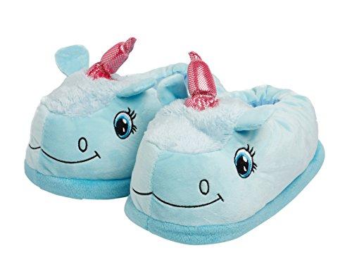 Katara 1770 - Einhorn Unicorn Plüsch Haus-Slipper Pantoffeln für Damen/Erwachsene , Einheitsgröße 36 - 44, blau