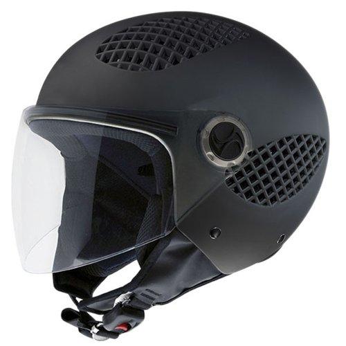 NZI 150243G093 B-Cool Matt Black Casco de Moto, Goma Negro, Talla 57 (M)