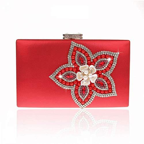Abend Handtaschen Kupplungen (SCDSNB Damen Satin Party Abend Kupplung Handtasche Geldbeutel Handtasche (Farbe : Rot))