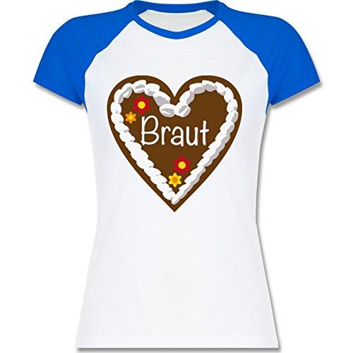 Shirtracer JGA Junggesellinnenabschied - Lebkuchenherz Braut - Zweifarbiges Baseballshirt/Raglan T-Shirt für Damen Weiß/Royalblau
